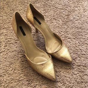 Zara Golden Bling Bling shoes size 38